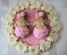 twin shower cake ideas | Twin girls pink baby Shower First Birthday FONDANT Cake Topper Baptism ...