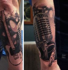 Male Forearms Guitar Microphone Tattoo