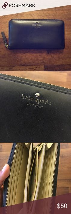 Kate Spade Leather Wallet Used for 3 1/2 years every day until I got a new one! Still fully functional, no zippers broken! Normal scuffing on leather from daily usage! (all flaws shown in pics) Any more questions please ask! kate spade Bags Wallets
