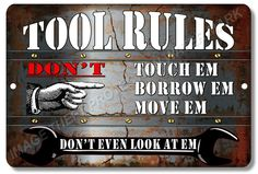 "Dads MAN CAVE GARAGE Tool Rules Sign 100% Aluminum Sign 8"" x 12"" Brand New  #YNGMCG5 #ManCaveorGarage"