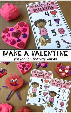 Printable Make a Valentine Playdough Activity Cards for preschool, pre-k, and kindergarten. An engaging math activity for the month of February. Playdough Activities, Preschool Crafts, Preschool Activities, Preschool Winter, Winter Activities, Valentine Theme, Valentine Day Crafts, Valentine Ideas, Valentine Cards