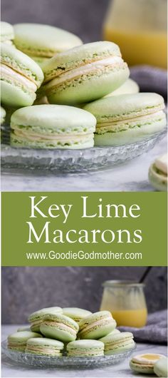 Key lime macarons are filled with a key lime buttercream and key lime curd. Lots of key lime flavor packed into every naturally gluten-free macaron bite! * Recipe on Key Lime Desserts, Köstliche Desserts, Dessert Recipes, Lemon Desserts, Plated Desserts, Macaroon Filling, Macaroon Cookies, Key Lime Cookies, Key Lime Macarons