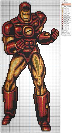 The Avengers – Iron Man – Birdie Stitching Cross Stitch Charts, Counted Cross Stitch Patterns, Cross Stitch Embroidery, Perler Bead Art, Hama Beads, Marvel Cross Stitch, Corner To Corner Crochet, Stitch Cartoon, Cross Stitch Pictures