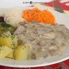 Vaříme zdravě » Hlíva ústřičná v omáčce Krabi, Dairy, Cheese, Chicken, Meat, Cubs