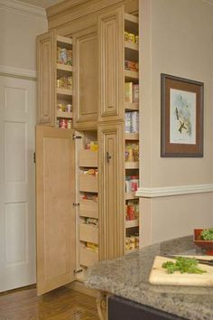 Love this ultimate use of space and that you can view most items. This would be an amazing benefit to someones house that loves to can and dry. Pantry with Pullout Storage at bgh.com