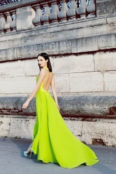This chartreuse dress is so stunning. Would never have thought to pair it with turquoise!