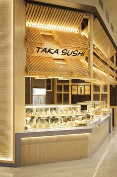 Our new design for this great Sushi store Commercial Design, Commercial Interiors, Sushi Store, Sushi Bar Design, Japanese Restaurant Interior, Sushi Restaurants, Hospitality Design, Cafe Restaurant, Retail Design
