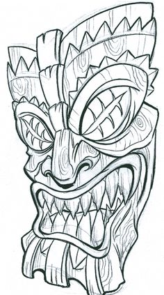 110 best images about horror coloring pages on dovers frankenstein and Tiki Tattoo, Voodoo Tattoo, Totem Tattoo, Tattoo Sketches, Tattoo Drawings, Art Drawings, Tiki Maske, Biomech Tattoo, Tiki Head