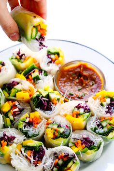 Love these Mango Avocado Spring Rolls! They're easy to make with your favorite fillings, naturally gluten-free and vegan, and served with the most irresistible peanut dipping sauce. The perfect appetizer, snack or main course! Cooking Courses, Cooking Recipes, Cooking Games, Asian Recipes, Healthy Recipes, Ethnic Recipes, Easy Peanut Sauce, Cooking Pork Roast, Vietnamese Spring Rolls