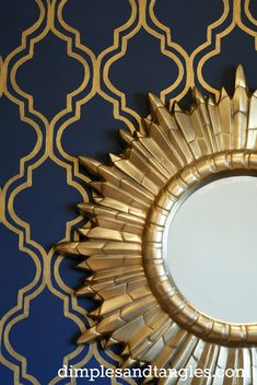 "dramatic NAVY walls & ceiling (plus gold painted lattice ""stencil"" on the walls) -- want this in our bedroom wall where bed is"