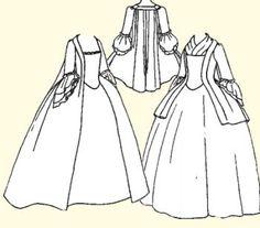 Pet-en-l'air or Robe la Francaise Pattern, Colonial - Regency - Romance Patterns Of Fashion, Clothing Patterns, Sewing Patterns, Dress Patterns, Costume Patterns, Costume Ideas, Historical Costume, Historical Clothing, Wild West Costumes