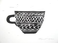 FREE SHIPPING Geometric Patterns Coffee Cup Linocut Art Print / 5 x 7 Home Decor / Black, Grey, Red, Turquoise, Yellow / Kitchen