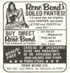 """Vintage Ads - Rene Bond mail-order """"slightly used"""" panties"""