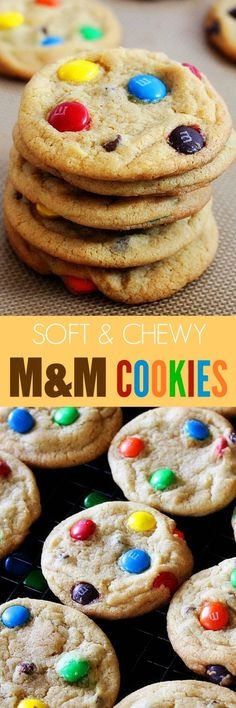 Soft and Chewy M&M Cookies - loaded with rainbow M&M's and are extra chewy and soft. You will not be able to stop at just one cookie!