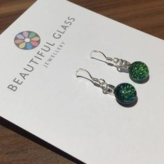 Green dichroic glass dangly earrings Sparky fused glass Etsy Christmas, Best Christmas Gifts, Dangly Earrings, Glass Earrings, Dichroic Glass, Fused Glass, Amber Ring, Small Gift Boxes, Etsy Business
