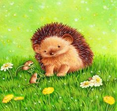 A print from my acrylic illustration featuring a cute little hedgehog and tiny field mice Size: by printed on Epson matt paper Hedgehog Drawing, Hedgehog Art, Cute Hedgehog, Small Paintings, Original Paintings, Happy Hedgehog, Cute Cartoon Pictures, Cute Animal Drawings, Whimsical Art
