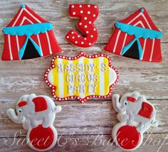 Circus Cookies~        by SweetCBakeShop on Etsy, $44.00, Red Circus tent, Grey Elephant, number
