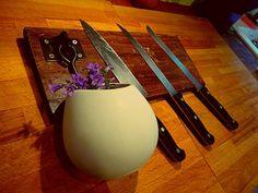 Magnetic wood knife holder rack rustic - with plant holder