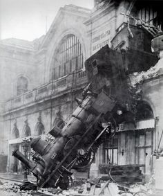 "montparnasse station, 1895..""I'm sorry, I missed that class. Which one's the brake again?"""