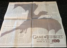 "Mind-Blowing ""Game Of Thrones"" Ad In ""The New York Times"""