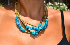 Four Strand Turquoise Blue and Gold por uniquebeadingbyme en Etsy, $38.00