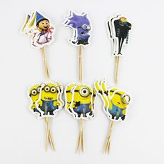 72pcs Event Party Supplies Cupcake Toppers Picks Despicable Me Wedding Decoration Girl Kids Birthday Party Decoration by MsDIYSupplies on Etsy