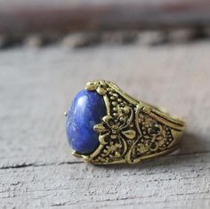 antique jewelry oval natural Lapis lazuli ring stone 5$