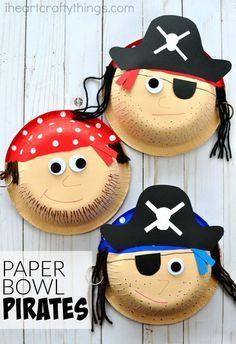 Awesome paper bowl pirate craft for kids. Great for a summer kids craft, kids pirate craft, preschool pirate theme and pirate activities for kids. #kidscrafts
