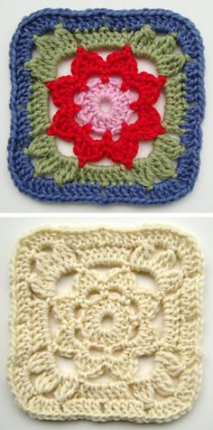 Granny Square With a Flower, free pattern by Jolanta Gustafsson . . . . ღTrish W…