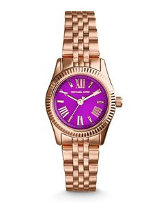 Petite Rose Golden/Purple Stainless Steel Lexington Three-Hand Watch by Michael Kors at Neiman Marcus Last Call.