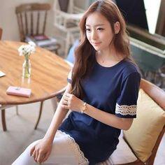 Lace-Trim Short-Sleeve T-Shirt