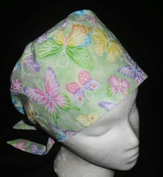 Novelty Ladies Nurses Scrub Hats Women Pixie Tie Back Scrub Caps Surgical Cap Medical Hat Butterflies Sparkle on SHADES OF GREEN $10.99