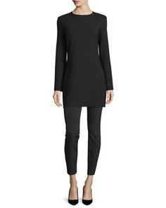 Noma+Long-Sleeve+Mini+Dress+&+Cosso+Skinny+Cropped+Pants,+Black+by+THE+ROW+at+Neiman+Marcus.