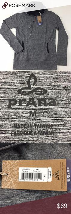 "prAna Ember Performance Top.   H8 prAna black Ember Performance Shirt. Women's Size medium Cowl neckline with drawstring. Heathered performance knit. Front pocket on princess seams, ergonomic seams. 92% polyester, 8% elastane. Measurements are approximate.  Bust: 36"", length: 27"", sleeve: 26"". Prana Tops"