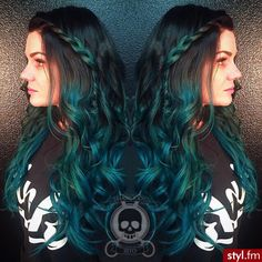 beautiful, blue, curly hair, girl, green, hair color, ombre