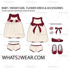 Baby / Infant Flower Dress Fashion Flat Template