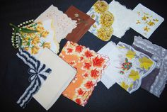 Vintage Hankies Autumn Colors Lovely by CheekyVintageCloset, $34.50