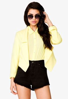 NWT FOREVER 21 Pointed Hem Blazer Career Jacket Yellow Size M