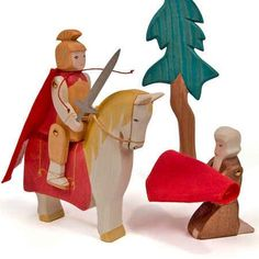 St Martin and Horse (Ostheimer Figures) A wooden toy figurine of the Saint known for his charity. Martinmas is celebrated on November St Martin Of Tours, Wooden Wagon, Saint Martin, Waldorf Toys, Christmas Wood, Arts And Crafts Supplies, Paper Lanterns, Wood Toys, Handmade Toys