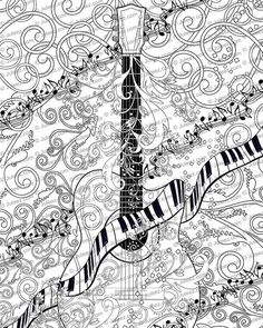 Adult Coloring Page Printable Guitar Poster Instant Download
