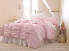 NOOP Simply Shabby Chic 4Pc KING Comforter Set Pink Ruched Coton Voile in Home & Garden | eBay