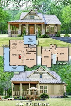 Rustic Cottage House Plan with Wraparound Porch Architectural Designs Home Plan gives you 3 bedrooms, 2 baths and sq.Architectural Designs Home Plan gives you 3 bedrooms, 2 baths and sq. Cottage House Plans, Dream House Plans, Small House Plans, Cottage Homes, Dream Houses, Tiny Home Floor Plans, Small Cottage Plans, Barn Style House Plans, Small Farmhouse Plans