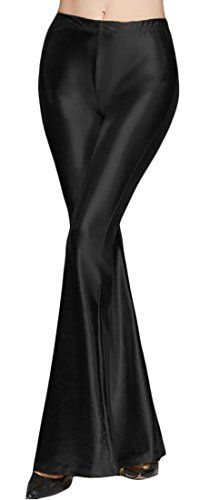 Lutratocro Women's Flared Wide Leg Pants Metallic Liquid Stretchy Bell Bottom Pants
