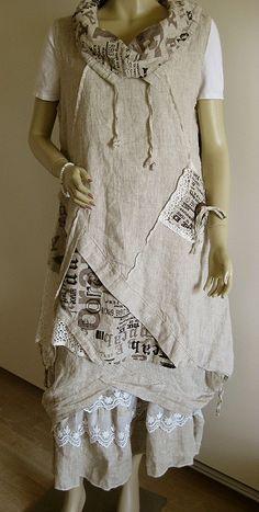 Sarah Santos Romantic Maxi Skirt Size s M Lagenlook 100 Linen Lace Beige New | eBay