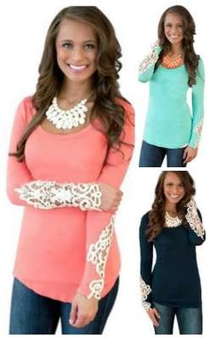 great top! long sleeve lace accent top