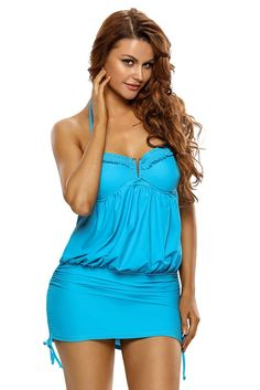Light Blue / Blue Halter Bikini Top One Piece Swim Dress MS410032 – ModeShe.com