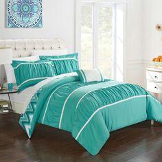 Chic Home Brooks Reversible Comforter Set Turquoise - CS3699-HE