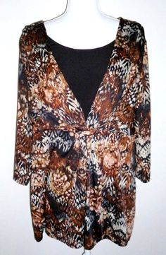 97d588f9785787 NY COLLECTION WOMAN Blouse Top Shirt Floral Black Brown Ivory 2X   NYCollection  Tunic  Career