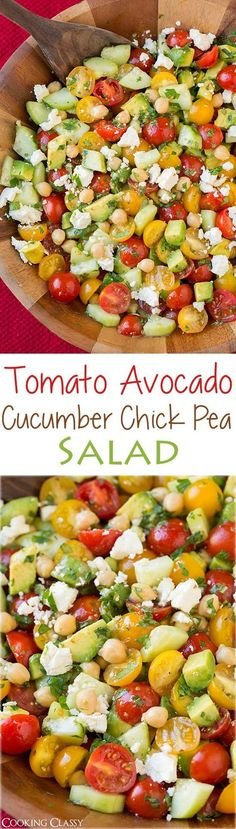 Tomato Avocado Cucumber Chick Pea Salad Recipe with Feta and Greek Lemon Dressing. Sounds like a delicious side dish, complete with protein and healthy fats!