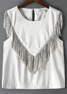 White Round Neck Tassel Tank Top -SheIn(Sheinside)